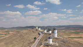 Historic windmills in Castilla-La Mancha, Spain stock video