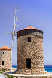 Historic windmills in Rhodes. Royalty Free Stock Images