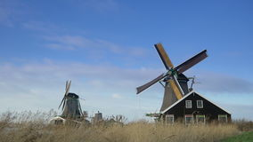 Historic windmills at the Zaanse Schans. Holland 4K stock footage