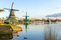 Historic Windmills of Zaanse Schans in Holland Royalty Free Stock Images