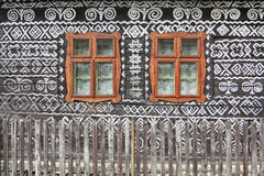 Historic windows on a house in the village Čičmany. Slovakia Stock Photography