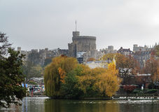 Historic Windsor Castle from the River Thames Stock Photography