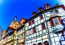 Historic wood-framed houses in Barbarossa town Gelnhausen, the geographic center of the European Union in 2010, Germany. Historic wood-framed houses in Stock Photo