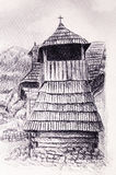 Historic wooden belfry in mountain willage, pencil drawing on paper. Royalty Free Stock Photo
