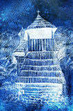 Historic wooden belfry in mountain willage, pencil drawing on paper. Winter effect. Stock Photos
