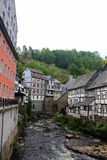 Historic wooden buildings in Monschau at river Rur, Germany, May 28, 2016. Stock Photography