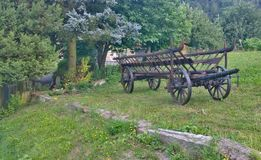 Historic wooden carriage, eastern Bohemia. Czech Republic Stock Image