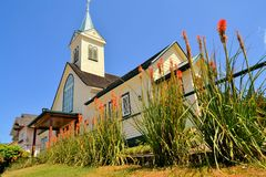 Historic wooden church, built by German immigrants Stock Photography