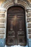 Old wooden door. Historic wooden door in the old building. Russia Royalty Free Stock Image