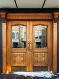 Old wooden door. Historic wooden door in the old building. Russia Royalty Free Stock Photo