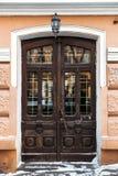 Old wooden door. Historic wooden door in the old building. Russia Stock Image