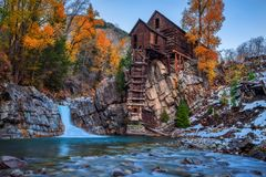 Historic wooden powerhouse called the Crystal Mill in Colorado royalty free stock images