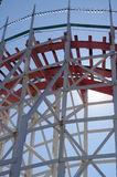 Historic wooden roller coaster Giant Dipper tracks Stock Image
