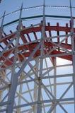 Historic wooden roller coaster Giant Dipper tracks Stock Image