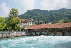 Historic wooden sluice at tourist destination thun Royalty Free Stock Images