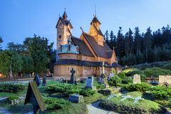 Historic wooden temple Wang in Karpacz, Poland Royalty Free Stock Photos