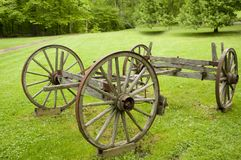 Historic wooden wagon wheels Royalty Free Stock Image