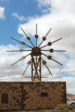 Historic wooden wind mill in Valles de Ortega. With twelve wings on  Fuerteventura . Spain Stock Photography