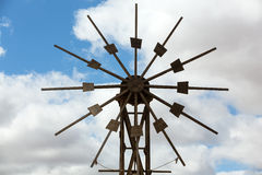 Historic wooden wind mill in Valles de Ortega. With twelve wings on the Spanish island Fuerteventura Stock Photography