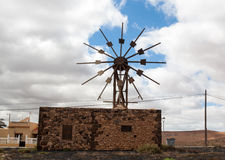 Historic wooden wind mill in Valles de Ortega with twelve wings on the Spanish island Fuerteventura.  Stock Images