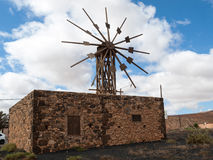 Historic wooden wind mill in Valles de Ortega with twelve wings on the Spanish island Fuerteventura. One of the Canary islands Stock Photo