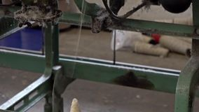 Historic woolen mill production in Wales - United Kingdom. Historic woolen mill production in Trefriw, Wales - United Kingdom stock video footage