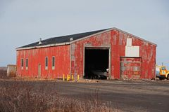Historic World War Two Military Building. In Cold Bay, Alaska royalty free stock photo