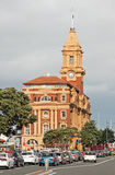 Historic yellow ferry building in Auckland stock photos