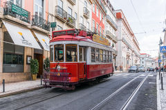 Historic yellow tram in front of the Lisbon Royalty Free Stock Photo