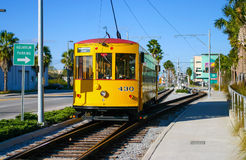 Historic yellow tram at Port of Tampa Royalty Free Stock Image