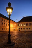 Historic Zagreb Upper Town lanterns. At dusk with bright Venus shining in the evening sky Stock Photography