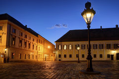 Historic Zagreb Upper Town lanterns. Historic lanterns on Zagrebs' Upper Town square at dusk with bright Venus shining in the evening sky Royalty Free Stock Photography