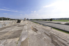 Historic Zeppelin Field. Partial view of the grandstand and spectator area of the famous Zeppelin Field where Nazi rallies were held in the 1930's.  Nuremberg Stock Photos