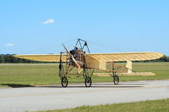 Historical aircraft Bleriot XI. On runway Stock Photos