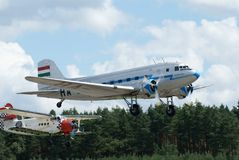 Historical airplane Lisunov LI-2 and Antonov an2. Historical airplane from ww2 Lisunov LI-2 with airplane Antonov An2 in background - airshow in Pilsen - Line 27 stock images