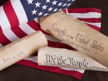 Historical American Documents. Declaration of Independence, Constitution and Bill of Rights with the United States flag Royalty Free Stock Images