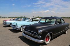 Historical American made cars on display at the Antique Automobile Association of Brooklyn Annual Spring Car Show. BROOKLYN, NEW YORK - JUNE 8, 2014: Historical Stock Photography