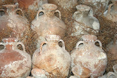 Historical amphoras. Pots at Bodrum Underwater museum stock image