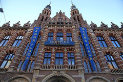Historical Amsterdam shopping center Magna Plaza in Amsterdam, H stock photo