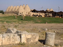 Historical and ancient Beehive houses in Şanlıurfa,Turkey. Traditional beehive mud brick desert houses, Harran near the Syrian border, Turkey Stock Image