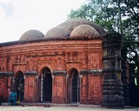 A historical ancient mosque photograph. A historical and ancient architectural mosque of Bangladesh unique stock photograph stock images