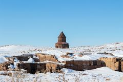 Historical Ani Ruins and Winter Landscapes, Kars, Turkey. February 2017 stock photo