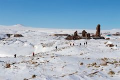 Historical Ani Ruins and Winter Landscapes, Kars, Turkey. February 2017 royalty free stock photo