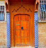 Historical in  antique building door morocco style africa   wood. And metal rusty Stock Images