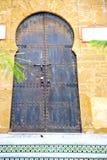 Historical in  antique building door morocco style africa   wood. Historical     in  antique building door morocco style africa   wood and metal rusty Stock Photography