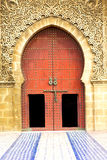 Historical in  antique building door morocco style. Africa   wood and metal rusty Royalty Free Stock Photography