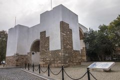 Historical arch in Faro city. View of the Historical arch in Faro city, Portugal Royalty Free Stock Photos