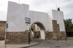 Historical arch in Faro city. View of the Historical arch in Faro city, Portugal Stock Photos