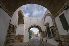 Historical arch in Faro city. View of the Historical arch in Faro city, Portugal Stock Photography
