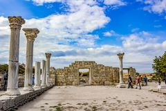 SEVASTOPOL, CRIMEA - SEPTEMBER 2014: `Chersonese Taurian` in Crimea royalty free stock photography